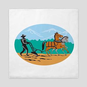 Farmer and Horses Plowing Field Cartoon Queen Duve
