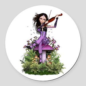 Amethyst Fairy ~ Summer Melody Round Car Magnet