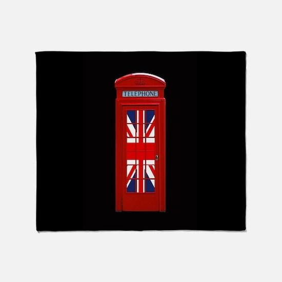 Union Jack London Phone Box Throw Blanket