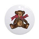 Christmas Art Bear and Holiday Bow Round Ornament