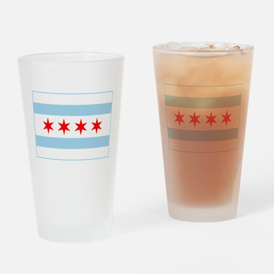 City of Chicago Flag Drinking Glass
