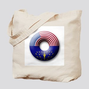 USA - Indiana Flag Donut Tote Bag
