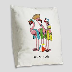 Flamingo Beach Bums Burlap Throw Pillow