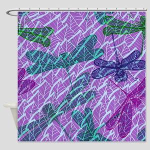Dragonflies on Purple  Shower Curtain