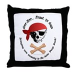 Pirate Dog Skull & Crossbiscuits Throw Pillow