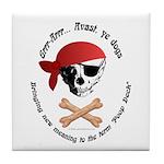 Pirate Dog Skull & Crossbiscuits Tile Coaster