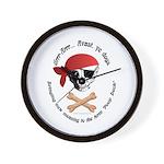 Pirate Dog Skull & Crossbiscuits Wall Clock