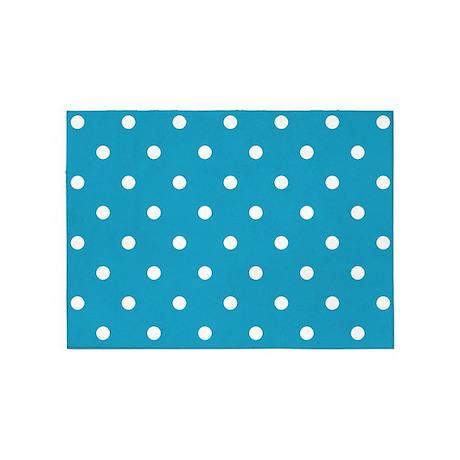 BLUE AND WHITE Polka Dots 5u0027x7u0027Area Rug