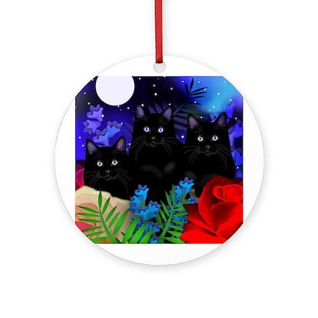 BLACK CATS MOON GARDEN Ornament (Round)