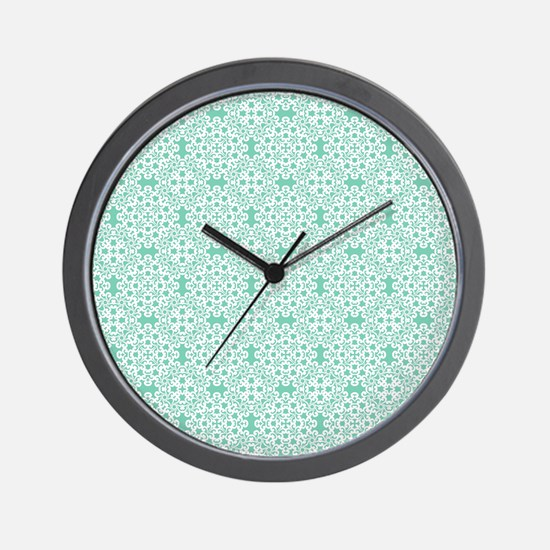 Lucite Green & White Lace 2 Wall Clock