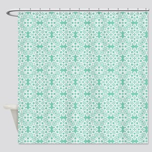 Lucite Green & White Lace 2 Shower Curtain