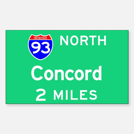 Concord NH, Interstate 93 North Sticker (Rectangul