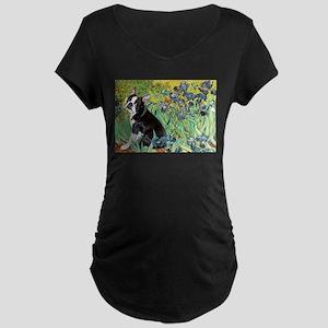 Irises & Boston Terrier Maternity Dark T-Shirt