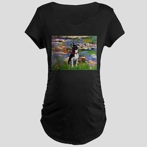 Lilies & Boston Terrier Maternity Dark T-Shirt