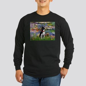 Lilies & Boston Terrier Long Sleeve Dark T-Shirt