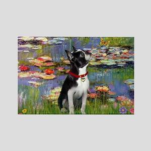 Lilies & Boston Terrier Rectangle Magnet