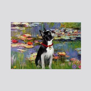 Lilies & Boston Terrier Rectangle Magnet