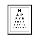 Optometrist Birthday Eye Chart Framed Panel Print