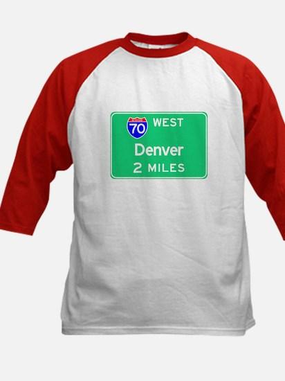 Denver CO, Interstate 70 West Kids Baseball Jersey