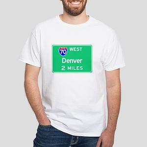 Denver CO, Interstate 70 West White T-Shirt