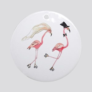 Bride and Groom Flamingos Ornament (Round)
