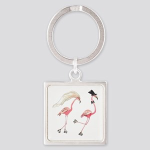 Bride and Groom Flamingos Keychains