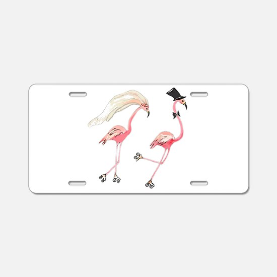 Bride and Groom Flamingos Aluminum License Plate