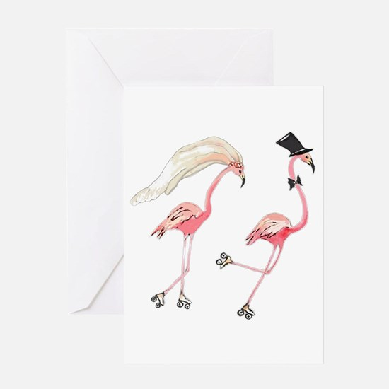 Bride and Groom Flamingos Greeting Cards