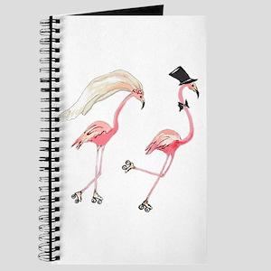 Bride And Groom Flamingos Journal