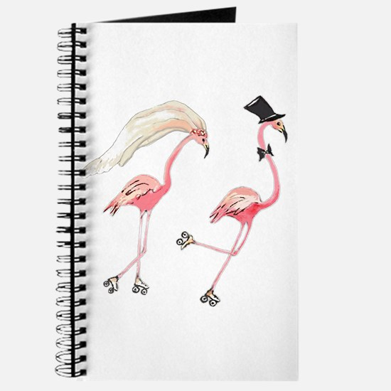 Bride And Groom Flamingos Journal