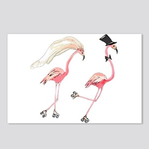 Bride and Groom Flamingos Postcards (Package of 8)