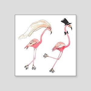 Bride and Groom Flamingos Sticker