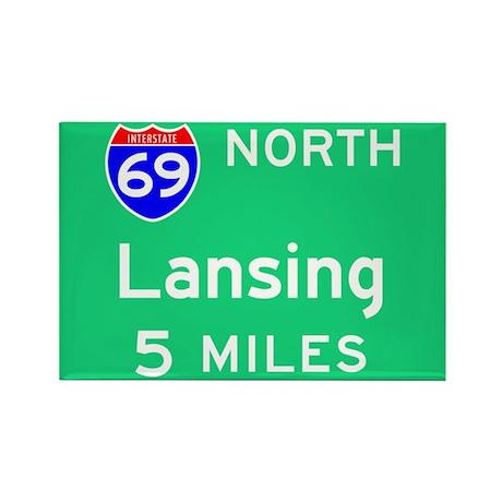 Lansing MI, Interstate 69 North Rectangle Magnet