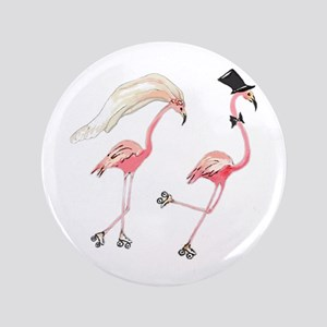 "Bride and Groom Flamingos 3.5"" Button"