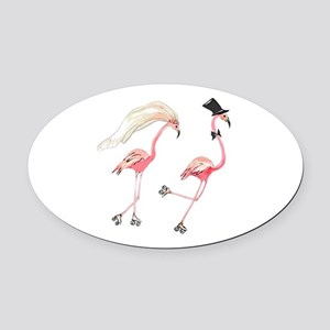 Bride and Groom Flamingos Oval Car Magnet