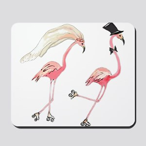 Bride and Groom Flamingos Mousepad