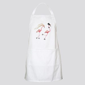 Bride and Groom Flamingos Apron