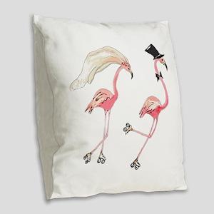Bride and Groom Flamingos Burlap Throw Pillow