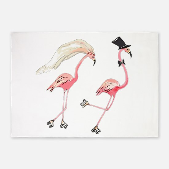 Bride and Groom Flamingos 5'x7'Area Rug