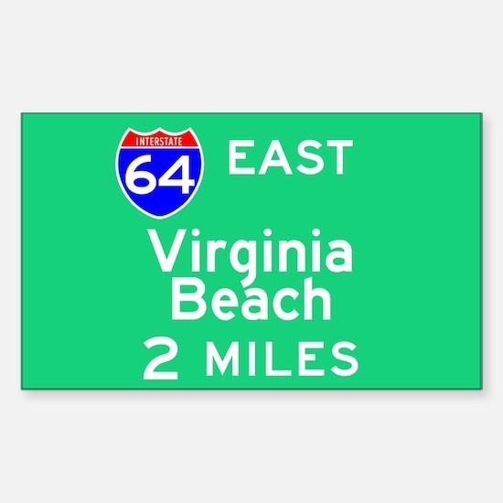 Virginia Beach VA, Interstate 64 East Decal