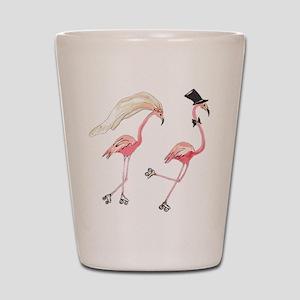 Bride and Groom Flamingos Shot Glass