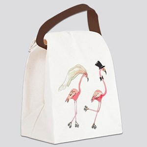 Bride and Groom Flamingos Canvas Lunch Bag