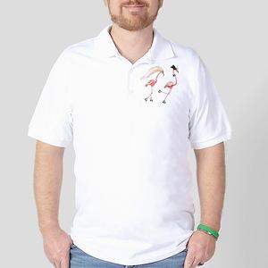 Bride and Groom Flamingos Golf Shirt