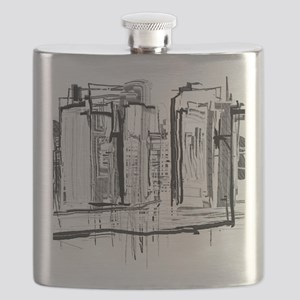 Black and White City Flask