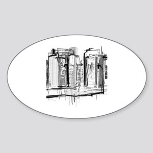 Black and White City Sticker (Oval)