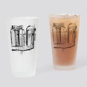Black and White City Drinking Glass