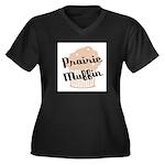 Prairie Muffin Women's Plus Size V-Neck Dark T-Shi
