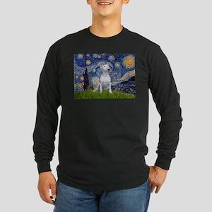 Starry Night/Bull Terrier Long Sleeve Dark T-Shirt