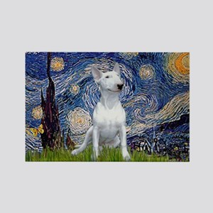 Starry Night/Bull Terrier Rectangle Magnet