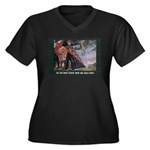 Women's Plus Size V-Neck Portrait Dark T-Shirt